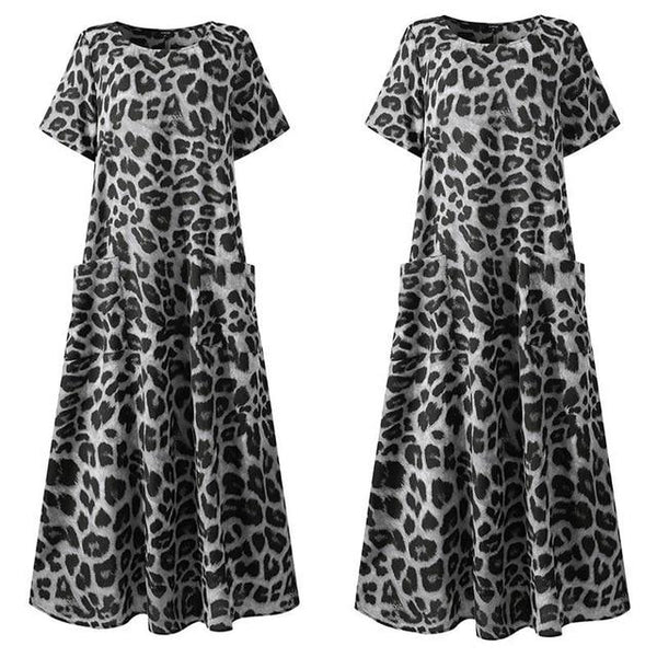 Sexy Party Dress Women Leopard Printed Swing Maxi Long Dress Summer Beach Sundress Vintage Casual
