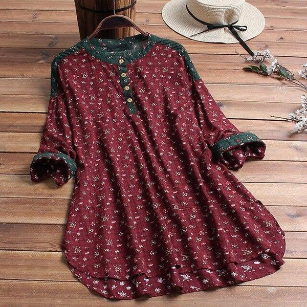 Large size cotton and linen shirt 6XL 7XL 8XL 9XL 10XL women's round neck printing loose long-sleeved shirt