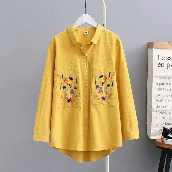 Autumn Women Floral Embroidery Pockets Cotton White Shirt Long Sleeve Casual Blouse Plus Size 4XL Tops