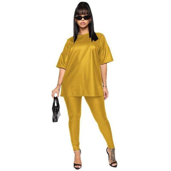 L-5XL Plus Size Women Clothing PU Faux Leather Two Piece Set Tee Top Leggings Jogger Pants Tracksuit Matching Sets Outfit