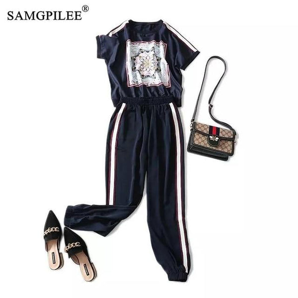 Plus Size Two Piece Sets Short Sleeve Casual Pullover O-neck Elastic Waist Women Summer Suit Print Full Length Outfits For Women