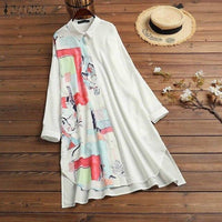 Spring Women's Stitching Blouse Kaftan Floral Shirts Long Sleeve Blusas Female Button Down Casual Tunic Plus Size