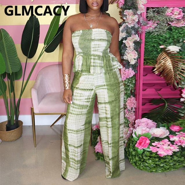 Women Two Piece Outfits Tie Dye Printed Strapless Top & High Waist Bodycon Wide Leg Pant Plus Size Suits