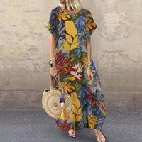 Kaftan Summer Dress Women's Printed Sundress Casual Short Sleeve Vestidos Female O Neck Robe Femme Plus Size 5XL