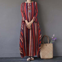 Elegant Autumn Maxi Dress Women's Printed Sundress Casual Long Sleeve Floral Vestidos Female Plus Size