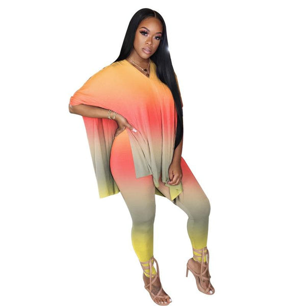 5XL Plus Size Women Clothing Two Piece Set Top and Pants Party Club Outfits Tie Dye Oversize Tracksuit Women 2 Piece Summer Sets