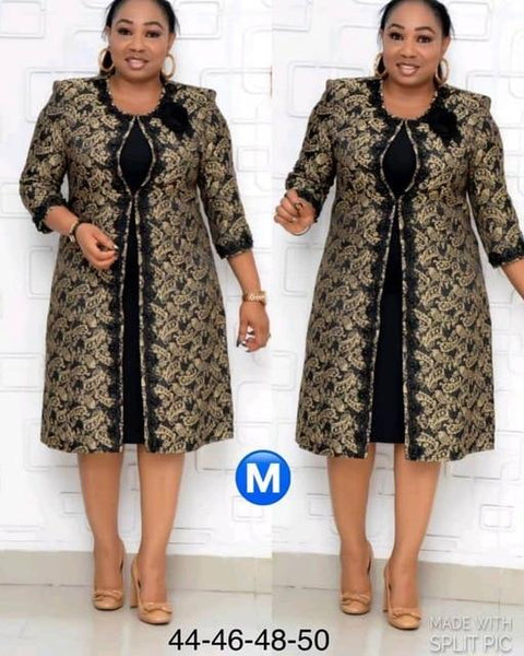 Office Lady Women Two Piece Outfits O-Neck Elastic Waist African Women's Plus Size Long Coat + Two-piece Dress
