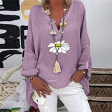 Elegant V-Neck Linen Cotton Women Blouse Shirts Plus Size Vintage