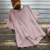 Women's Button Down Blouse Vintage Solid Tops Casual Short Sleeve Shirts Female Summer Blusas Plus Size Tunic 5XL