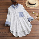 Kaftan Spring Shirts Women's Striped Blouse Casual Long Sleeve Blusas Female Lapel Stitching Tunic Plus Size Top 5XL