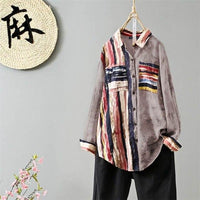 Elegant Casual Shirts Women's Autumn Striped Blouse Long Sleeve Blusas Female Button Chemise Plus Size Tunic
