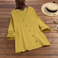 Women's Cotton Blouse Kaftan Spring Shirts Female V Neck Casual Button Down Tunic Plus Size Long Sleeve Blusas