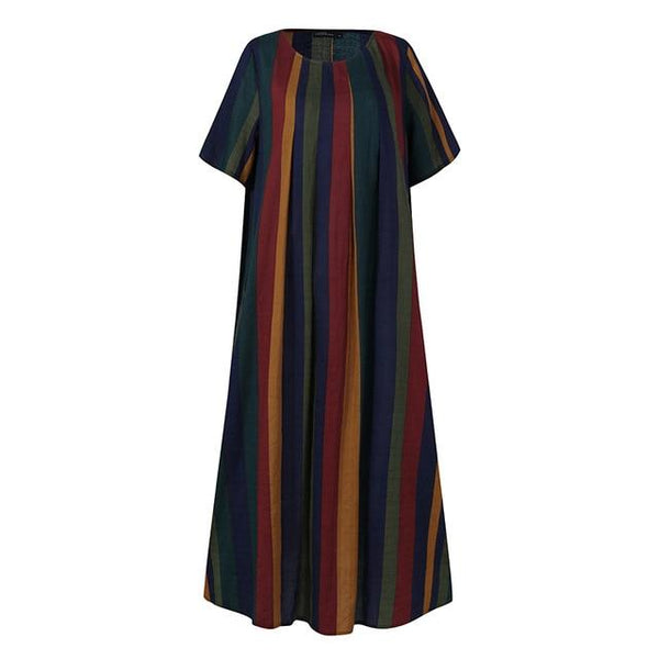 Kaftan Striped Dress Women's Summer Sundress Casual Short Sleeve Female Baggy Robe Femme Plus Size 5XL