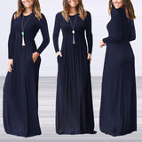 Women Solid Pleated Maxi Dress Womens Casual High Waist Long Sleeve Autumn Fit and Flare Fall Dresses for Women Plus Size