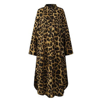 Women's Leopard Shirt Dress Casual Long Sleeve Midi Vestidos Female Button