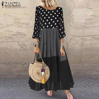 Women 3/4 Sleeve Polka Dot Printed Sundress Bohemian Cotton Linen Dress Plus Size Vintage Patchwork