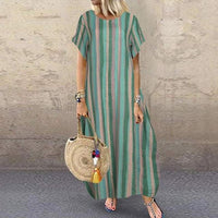 Vintage Printed Maxi Dress Women's Summer Sundress Short Sleeve Female Striped Robe Plus Size 5XL