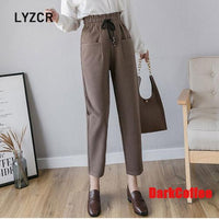 Winter Harem Wool Pants Women Warm Plus Size 5XL Women's Pants High Waist Black Woolen Pant Ankle-length Trousers