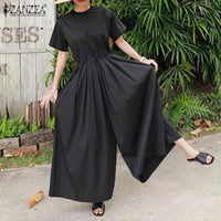 Women Fashion Tunic Rompers Short Sleeve Wide Leg Jumpsuits Summer O-Neck Casual Pockets Overalls Drawstring Plus Size