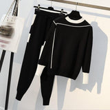Plus Size Woman Sweater Suits Knit Casual Tracksuits Crewneck Pullovers+Drawstrings Elastic Pants Two Piece Sets Female Outfits