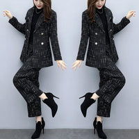 Woolen Jacket Pant Suit Party Two Piece Set Women Outfits Elegant Office 2piece Plus Size Large Matching Winter Fall Clothing