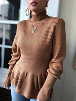 Women Fall Turtleneck High Waist Sweater Knitted Fashion Long Sleeve Casual Outfit Street OL Brown Top Plus Size Autumn