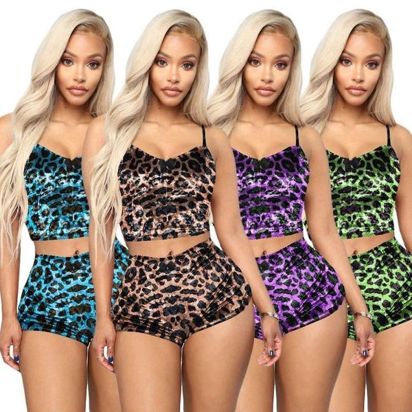 2 Piece Outfits for Women Leopard Print Velvet Sexy Lingerie Sets Intimates Tops Pants Sleepwear Babydoll Plus Size Sets