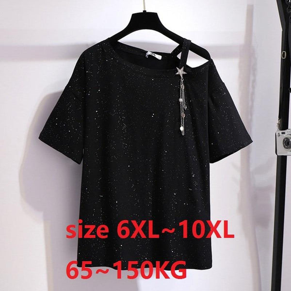 Plus Size 7X 8XL 9XL 10XL Black T-Shirt for Women Casual Tshirt Tops Tees Women Summer Tops Large Clothes for Women