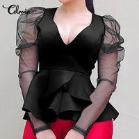 Stylish Tops Women Peplum Shirts Fashion Puff Sleeve Blouse V neck Mesh Sheer Casual Solid Party Ruffles