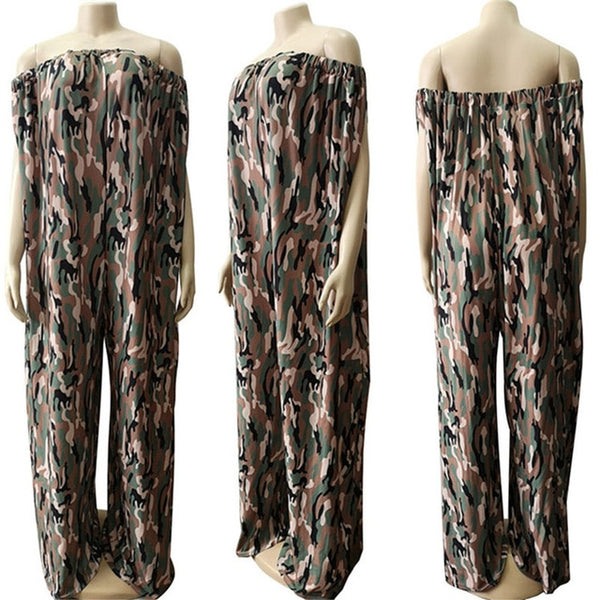 Large Size 3XL Women's Off the Shoulder Wide Loose Leg Pants Long Romper with Pocket