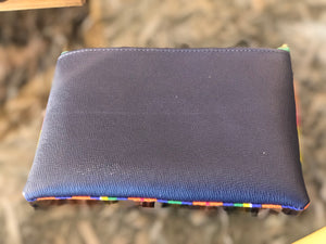 Kente Ankara and Blue Leather Pouch