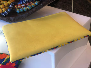 Sunburst Ankara and Yellow Leather Pouch
