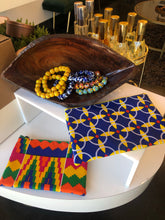 Load image into Gallery viewer, Kente Ankara and Blue Leather Pouch