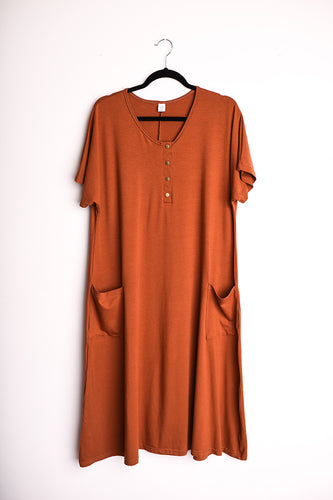 Rust Swing Dress (Rayon from Bamboo fabric) | Loon and Bloom