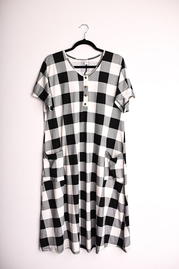 Buffalo Check Swing Dress (Brushed Poly fabric) | Loon and Bloom