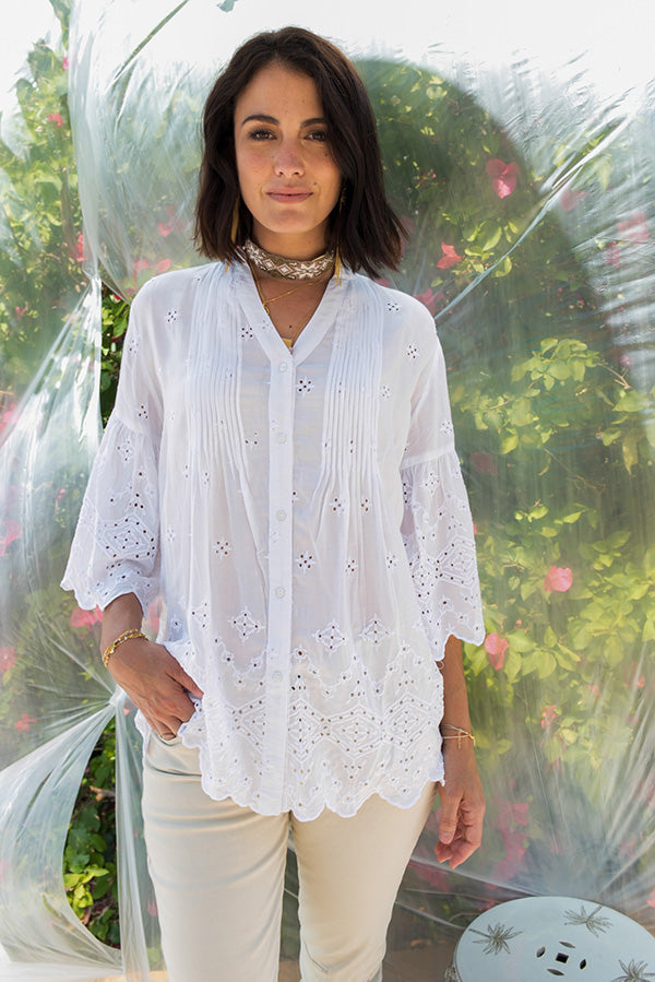 Bardot Pleat Shirt White