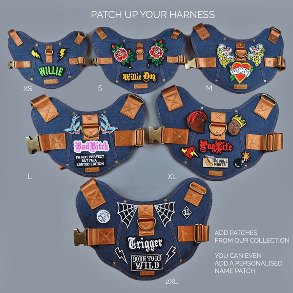 denim dog harness pethaus- dog harness with patches