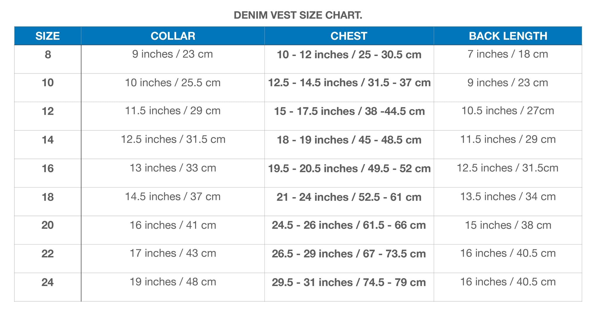 DOG JACKET SIZE CHART