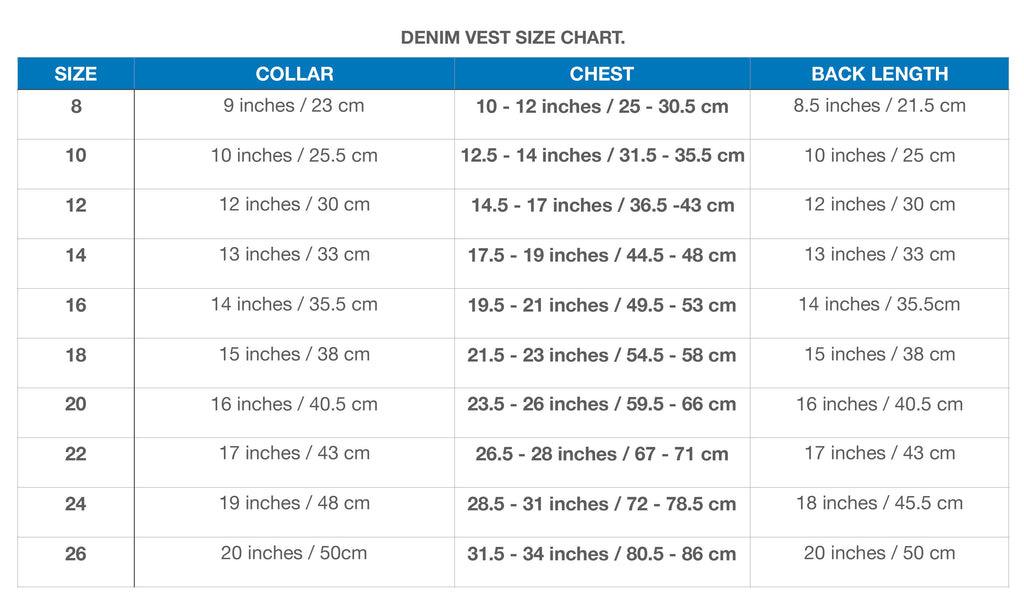 Denim dog vest size chart
