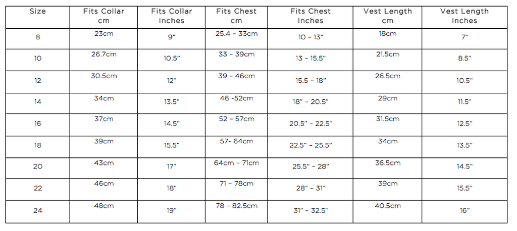Size chart dog jackets