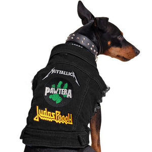 Black denim dog coat with rock dog patches Australia