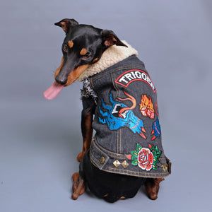 denim dog vest, denim dog jacket, sherpa denim dog vest, pethaus, dog denim, dog gift, black denim dog jacket, dog coat, black dog coat, dog jacket australia