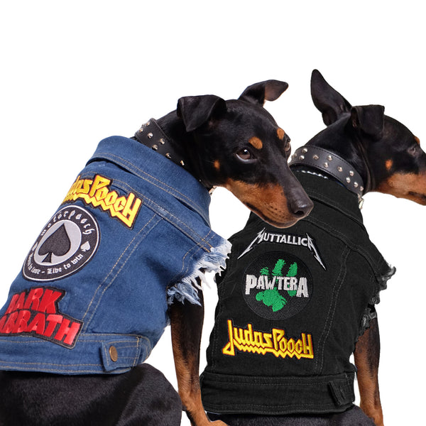 Denim dog vest with rock dog patches, dog coat Australia by Pethaus