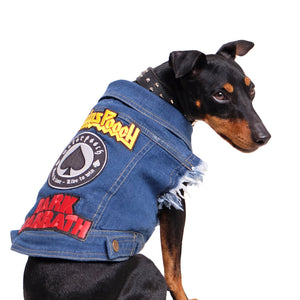 Denim dog coat with patches by Pethaus
