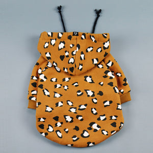 leopard print dog hoodie by Pethaus Australia designed to fit large and small dogs