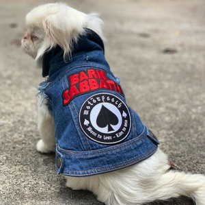 Denim dog jacket with rock dog patches, dog coat made in Australia