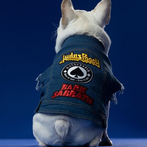 denim dog vest with patches by Pethaus Australia dog coats