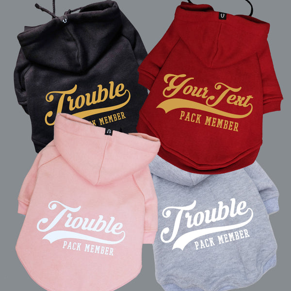 Personalised dog hoodie, the perfect dog gift, designed in Australia fits big and little dogs