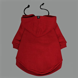 dark red dog hoodie to fit large and small dogs by Pethaus