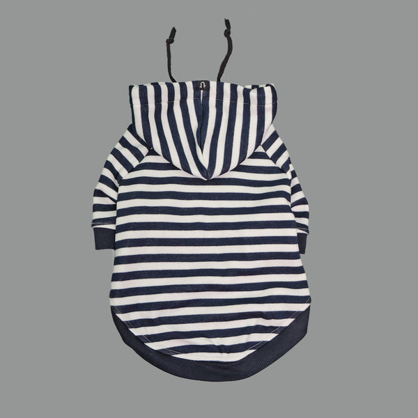 Navy and white stripe dog hoodie, striped dog hoodie by Pethaus